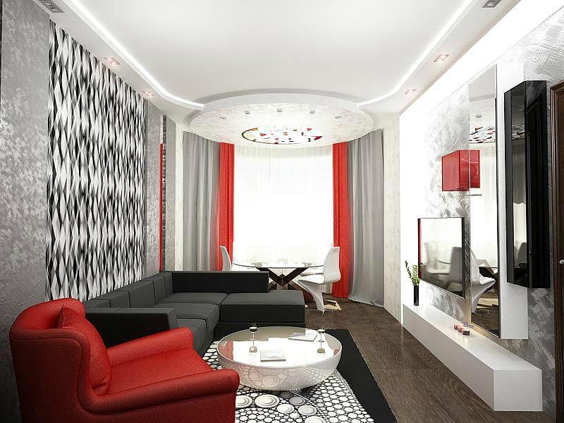 гостиная в серо красных тонах фото срочного изготовления